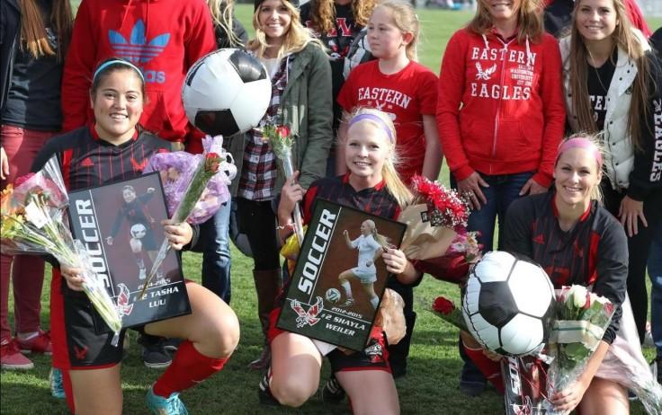 Eagle Seniors: Tasha Luu, Shayla Weiler and Alisha Stott. (Ron Swords / EWU Athletics.)